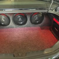 JL Audio speakers installed in trunk