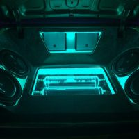 stereo teal lights