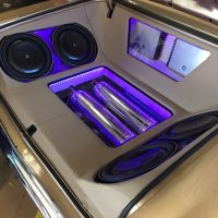JL audio in truck purple lights