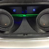Memphis speakers in back of car